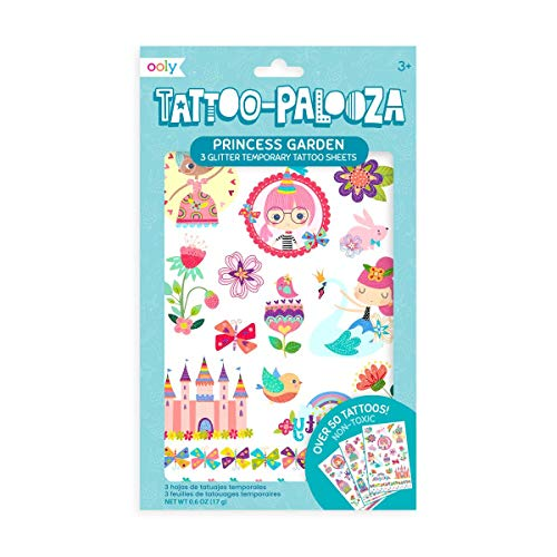 OOLY, Tattoo Palooza Skin-Friendly and Non-Toxic Temporary Tattoo for Kids – Princess Garden, 3 Sheets