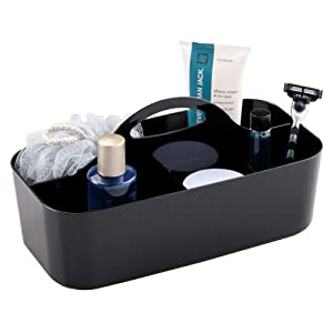 mDesign Plastic Portable Storage Organizer Caddy Tote - Divided Basket Bin with Handle for Bathroom, Dorm Room - Holds Hand Soap, Body Wash, Shampoo, Conditioner, Lotion - Large - Black