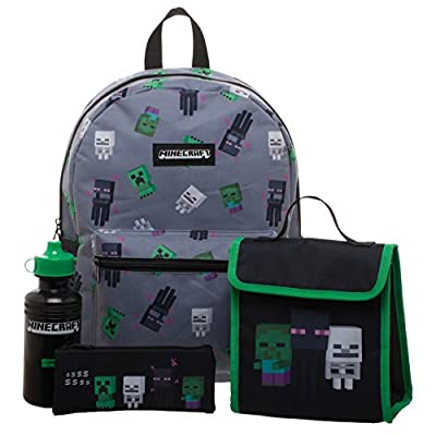 Minecraft Backpack, Lunchbox, Pencil Case & Water Bottle Set