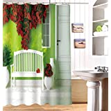 "LJ&L Landscape shower curtain 3d print personality shower curtain waterproof partition polyester cloth Mildew Resistant bathroom shower curtain,E,65""W*71""H"