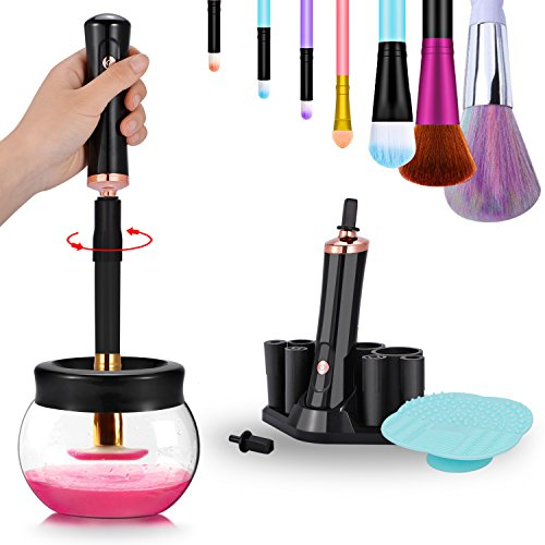 Makeup Brush Cleaner, Portable Automatic Brush Dryer and Cleaner, Deep Thorough Cleaning in Seconds, Suits Most Make Up Brush, Black Cleaning Spinner/Kits for Women … by ADDSMILE