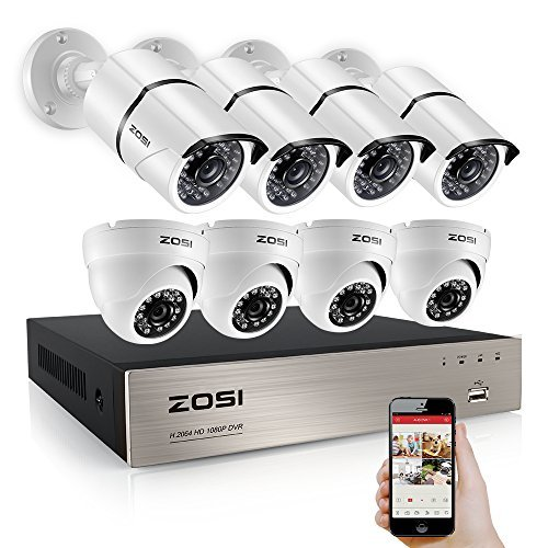 ZOSI Security Camera System 8 Channel FULL 1080P HD-TVI CCTV DVR Recorder With (8) HD 2.0MP 1080p Outdoor Indoor Bullet Cameras and Dome Surveillance Cameras with 100ft Night Vision, No Hard Drive ()