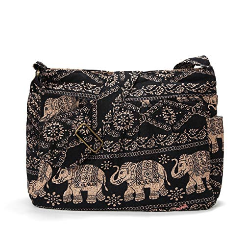 Print Shoulder Bag - Women Large Shoulder Bag Elephant Print Cotton Bag Adjustable Crossbody Messenger Bag (brown)