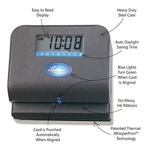 092447001900 - Lathem Tru-Align Thermal Print Time Clock, Automatic, Includes 25 E8 Time Cards, Gray (800P) carousel main 3