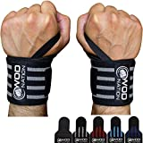 WOD Nation Wrist Wraps Weightlifting - Weight Lifting Wrist Wraps for Men & Women (12' or 18') (12 Inch - Black/Grey)