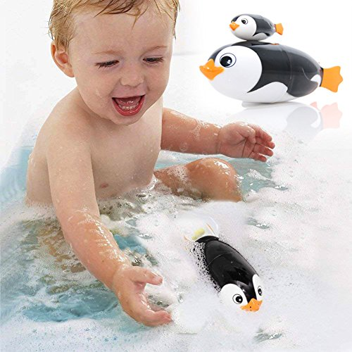 YIJIATOYS Hydrodynamic Design Toys Bath Toys/Bathtub Swimming Penguin Animals Toys with Spinning Propeller for Toddlers Babies Kids Boys Girls 1 2 3 Years Old/Cute Electric Bath Swimming Toy -