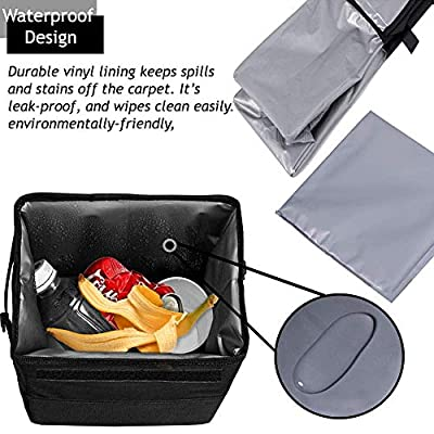 CARBONLAND Car-Trash-Can Leakproof Hanging Garbage Bag with 3pcs Cleaning Cloth: Automotive