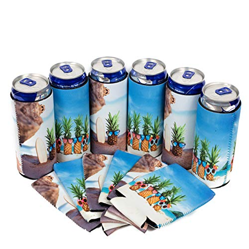 QualityPerfection 6 Slim Can Cooler Sleeve - Beer Skinny 12 oz Neoprene Coolie - Perfect For 12 oz Slim Red Bull, Michelob Ultra, Spiked Seltzer,Truly - Great For Any Event (6, Coconuts On The Beach) from QualityPerfection