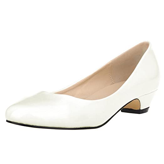 Amazon.com | ZriEy Women's Closed Round Toe Pumps Low Mid Kitten ...