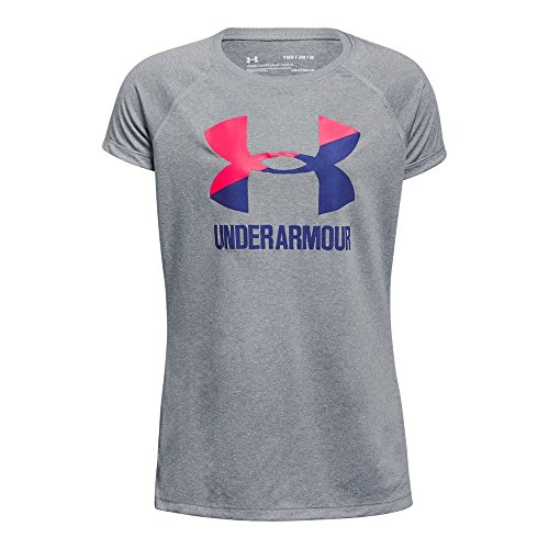 Under Armour Girls Solid Big Logo Short Sleeve T-Shirt, Steel Light Heather, Youth Medium
