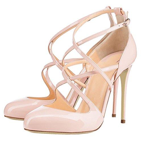 Arc-en-Ciel sandalias de correa redonda del dedo del pie zapatos de charol de las mujeres Nude