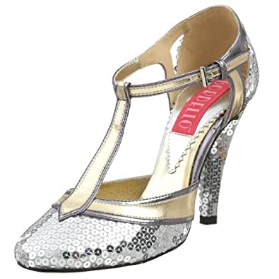 Bordello By Pleaser Women's Cabaret-01 T Strap Pump,Silver Sequins,11 M US