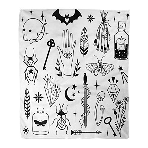 Emvency Throw Blanket Warm Cozy Print Flannel Witch Magic Doodle Sketch Magician Collection Witchcraft Symbols Potion Skull Comfortable Soft for Bed Sofa and Couch 50x60 Inches