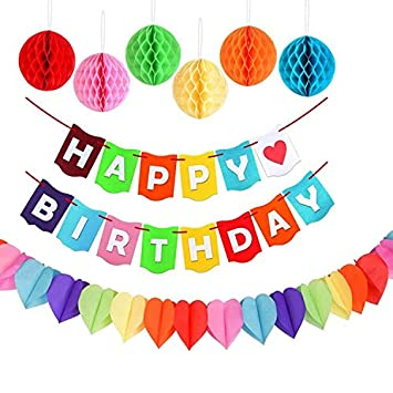 Amazon.com: Feliz Cumpleaños letras Hanging Banner Bunting ...