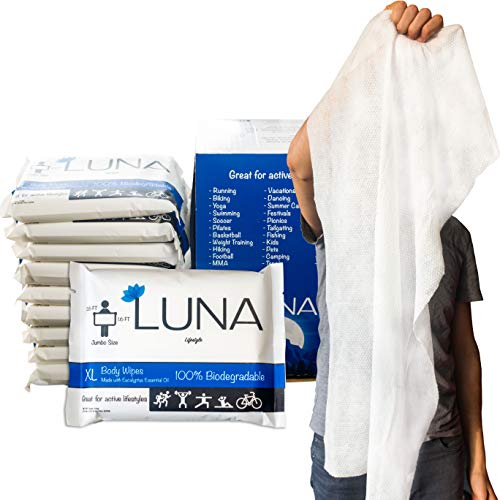 XL Wet Wipe Cleansing Body Wipes All Natural - 10 Pack Individual Pouches - Biodegradable & Unscented - No Rinse Bathing and Shower Wipe - Great for After Workout, Camping, Travel, Yoga, Gym