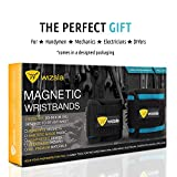 Wizsla Magnetic Wristband for Holding Screws, Tools, Set of 2 Sizes, Best Unique Gift for Men, DIY Handyman, Dad, Father, Husband, Him/Her, Women (Blue)