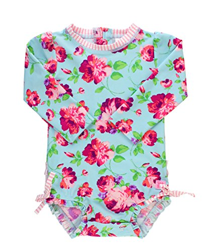RuffleButts Baby/Toddler Girls Life is Rosy One Piece Rash Guard - 12-18m -