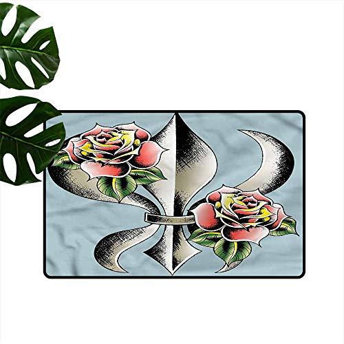 Bedroom Doormat Fleur De Lis Artistic Design Roses Non-Slip Door mat pad Machine can be Washed W30 ()