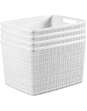Curver Set of 4 - Perfect Bins for Home Office, Closet Shelves, Kitchen Pantry and All Bedroom Essentials Jute Large Decorative Plastic, White