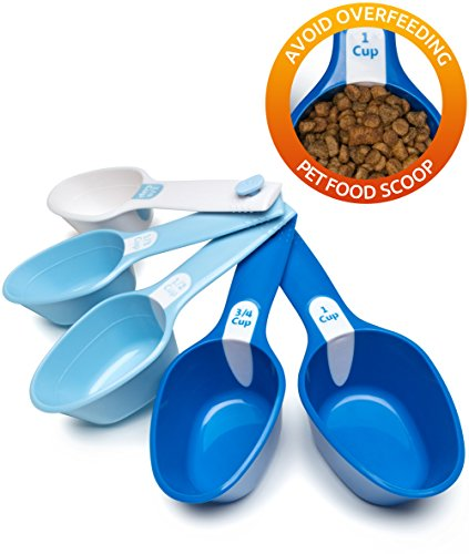 Petfactors Set of Five Pet Food Scoop, Plastic, Measuring Cups, for Dog, Cat and Bird Food by Petfactors