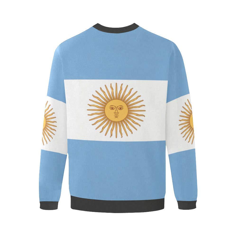 Argentina Flag Mens Pullover Fuzzy Sweatshirt