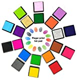 Finger Ink Pads, Proboths 20 Colors Washable Rainbow Craft Finger Ink Pad Set for Kids, DIY, Rubber Stamp Card Making and Wedding Fingerprint Tree