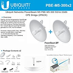 Incorporating a dish reflector design witth advanced technology, the PowerBeamis the latest generation of Ubiquiti NetworksairMAXCPE for customer locations. The PBE-M5-300 US is an airMAX PowerBeam M5 CPE. Designed for long distance links,...