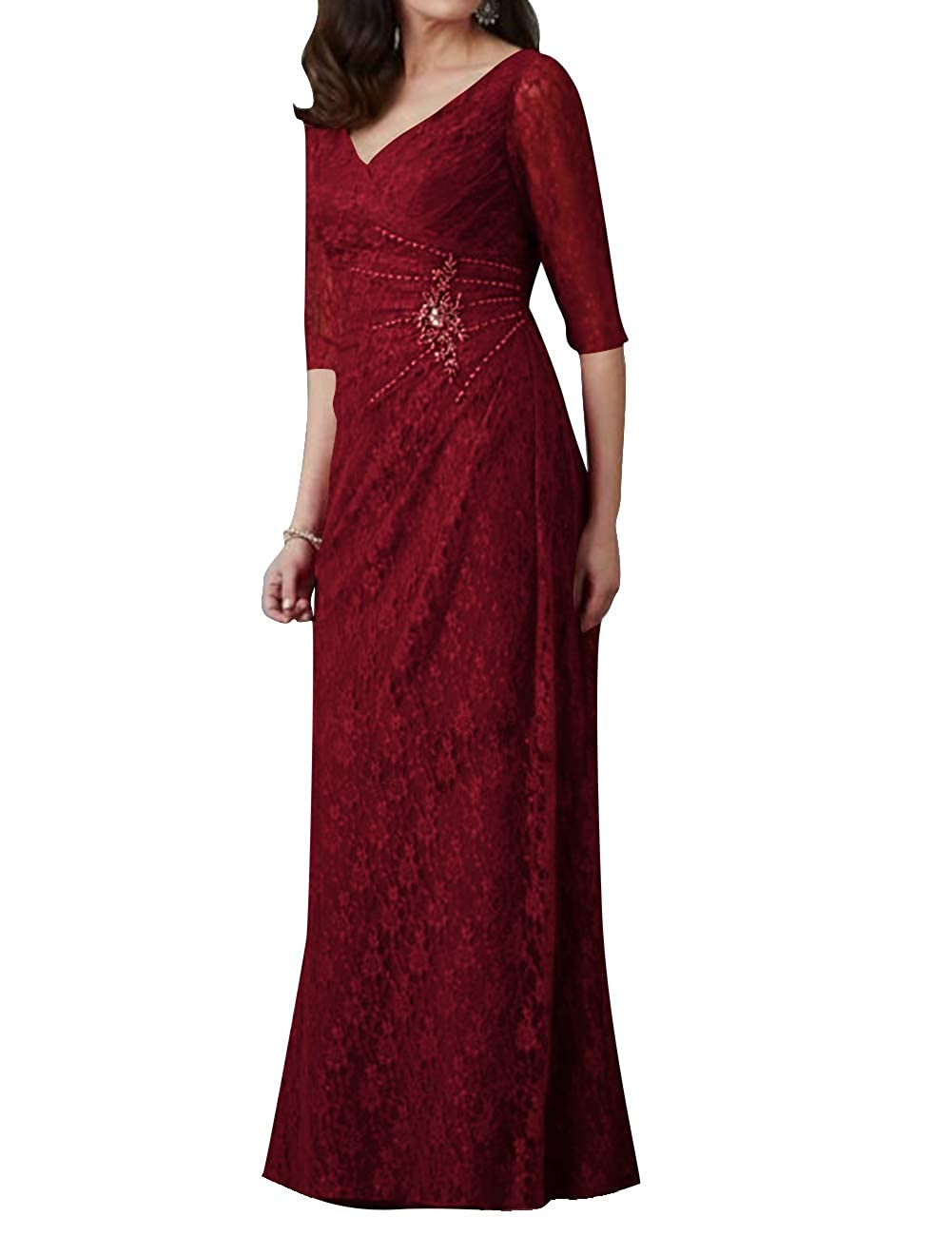 Lace Mother of The Bride Dresses V Neck Evening Party Dresses Half Sleeves Long