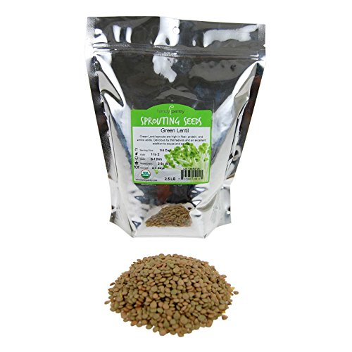 Organic Dried Green Lentil Sprouting Seed: 2.5 Lb - Dry Lentils for Planting Garden Seeds, Soup, Cooking or Sprout Salad, Sprouts -