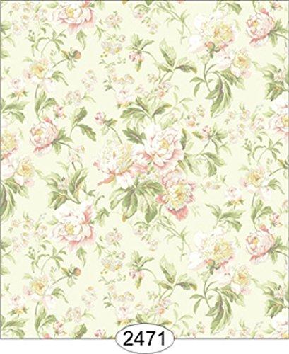 "Dollhouse Wallpaper "" Cozy Cottage Rose Garden - Pink on Aqua """