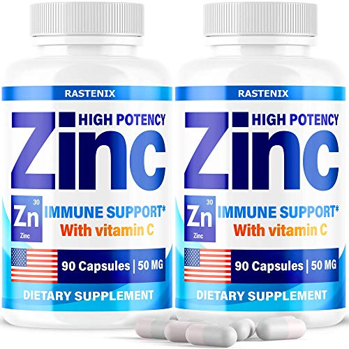 (2 Pack) Zіnс Picolinate 50Mg with Vіtаmіn C for Immune Support Booster - Zіnс Supplement for Men, Women, Kids - Good for Skin, Hair, Mood and Sleep - Made in USA - 180 Capsules