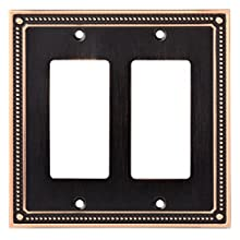 Franklin Brass W35065-VBC-C Classic Beaded Double Decorator Wall Plate / Switch Plate / Cover, Bronze with Copper Highlights