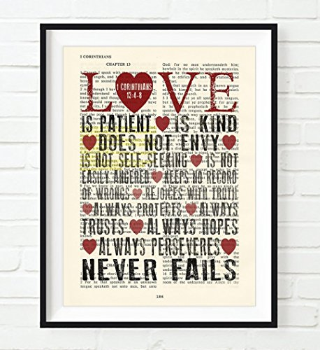 Love is Patient Love is Kind - 1 Corinthians 13:4-8 Christian UNFRAMED Art PRINT, Vintage Bible verse scripture dictionary wall & home decor poster, wedding gift, 11x14 inches