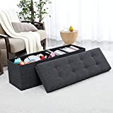 Ellington Home Foldable Tufted Linen Large Storage Ottoman Bench Foot Rest Stool/Seat - 15' x 45' x 15' (Black)