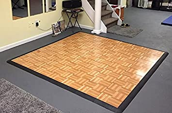 Dance Flooring Ballet Tap 4x4 ft Area Oak 16 Tiles Modular Tap Dance Kits with Edge Pieces