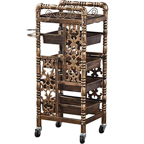 Socean Salon Hairdressing Tool Cart - Multi-Function Storage Trolley, Vintage Style, with Roller Drawers, Super Load-Bearing.