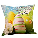 Throw Pillow Covers 18X18 Colored Eggs Easter Pillow Case Square Flax Cushion Cover Square Hidden Zipper Home Cushion Decorative Pillowcase for Festival Holiday Feast Decor (N)