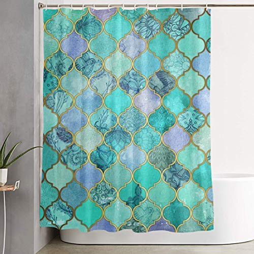 - POP MKYTH Luxurious Mermaid Fish Scales Mint Green Water-Repellent Fabric Shower Curtain Mildew Resistant, Antibacterial Bath Curtains Bathroom Decoration Decor, 60x70 Inch