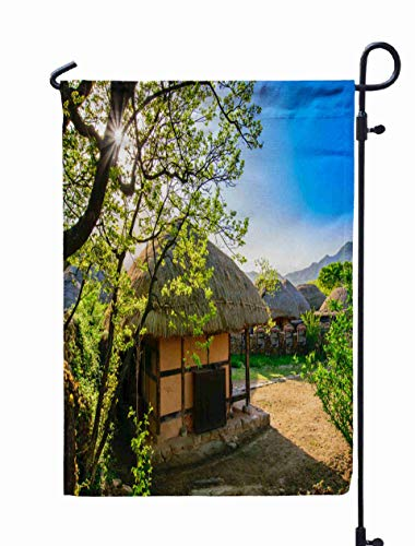 Shorping Season Garden Flag, 12x18Inch for Holiday and Seasonal Double-Sided Printing Yards Flags Beautiful Green in Spring Morning of Naganeupseong Folk Village in Sunch]()