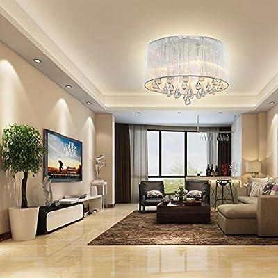 LightInTheBox Modern Crystal 4 Lights Flush Mount in Cylinder Shade Drum Style Home Ceiling Light Lighting Fixture Chandeliers for Bedroom, Living Room