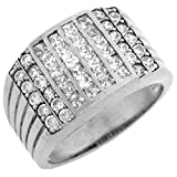 10k White Gold CZ Channel Set Cluster Hip Hop Bling Mens Ring