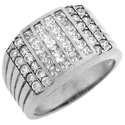 14k White Gold CZ Channel Set Cluster Hip Hop Bling Mens Ring by Jewelry Liquidation