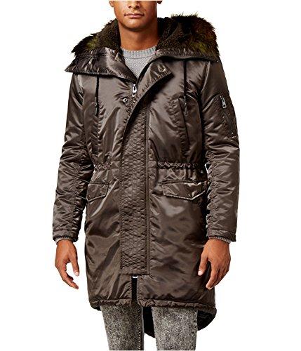- GUESS Mens Alpine Satin Fishtail Parka Coat, Brown, Large