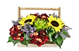 Creative Displays Hydrangea, Sunflowers and Artichokes in French Country Handled Basket