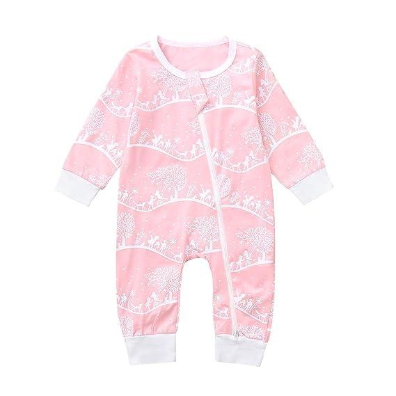 Tefamore Jumpsuit Recién Nacido, Otoño Invierno Niños Infantiles Bebé Pijamas Monos Cremallera Impresión