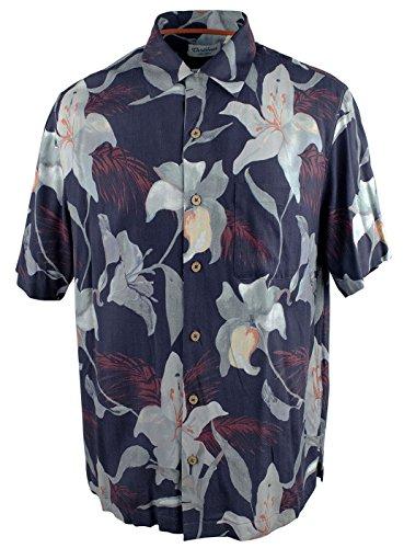 Men's Big and Tall Tropical Print Woven Short Sleeve Silk Shirt-DN-2LT Dark Navy