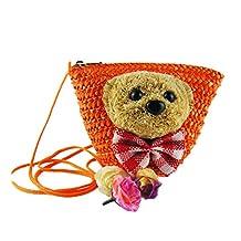FTSUCQ Cartoon Bear Handmade Crochet Straw Woven Shoulder Handbags Tote Beach Bag