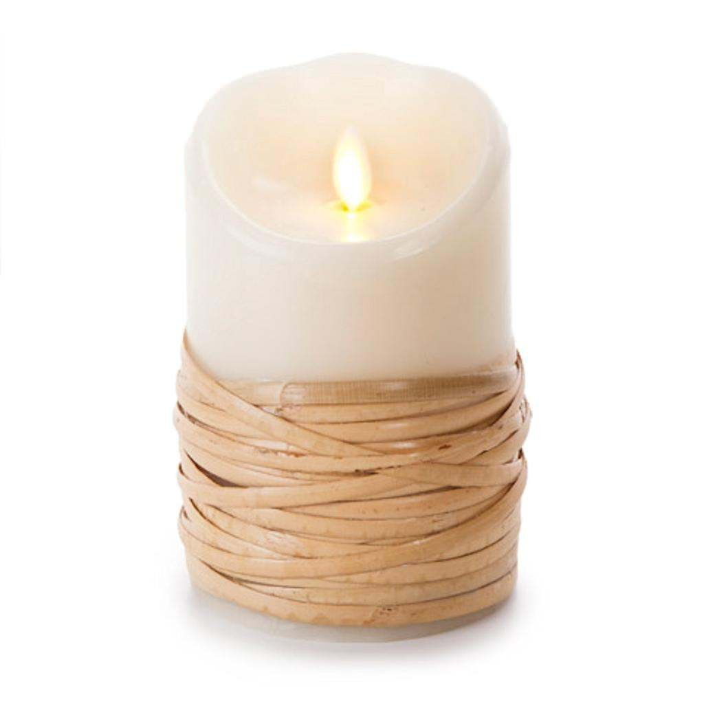 Luminaraリアル炎効果reed-wrapped Flameless Pillar Candle | Authenticワックス| 3.5