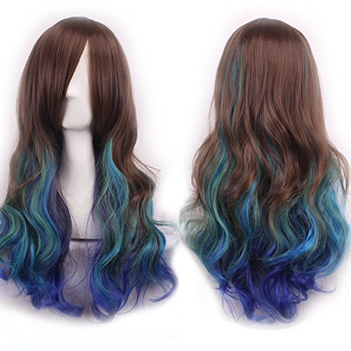Netgo Colorful Cosplay Wigs for Women with Obligue Band Long Wavy Curly Lolita Style Wigs Can Be Braided Full Wigs (Curly Blue Wig)