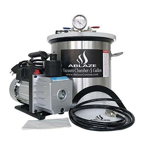 ABLAZE 5 Gallon Stainless Steel Vacuum Degassing Chamber and 3 CFM Single Stage Pump Kit by Ablaze
